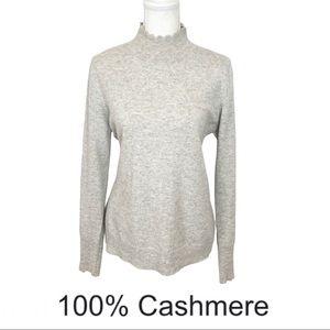 Nanette Lepor 100% Cashmere Scalloped Mock Neck Sweater Heather Gray & Ivory L